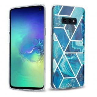 Cadorabo Hülle für Samsung Galaxy S10 Hülle in Blaue Welle Marmor No.13 Handyhülle aus TPU Silikon mit Muster Mosaik Silikonhülle Schutzhülle Ultra Slim Back Cover Case Bumper