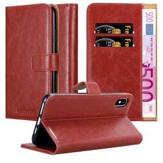 Cadorabo Hülle für Apple iPhone XS MAX in WEIN ROT ? Handyhülle mit Magnetverschluss, Standfunktion und Kartenfach ? Case Cover Schutzhülle Etui Tasche Book Klapp Style