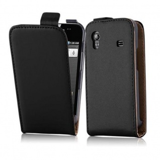 Cadorabo Hülle für Samsung Galaxy ACE 1 in KAVIAR SCHWARZ - Handyhülle im Flip Design aus glattem Kunstleder - Case Cover Schutzhülle Etui Tasche Book Klapp Style