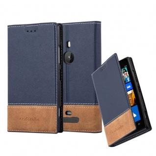 Cadorabo Hülle für Nokia Lumia 925 in BLAU BRAUN - Handyhülle mit Magnetverschluss, Standfunktion und Kartenfach - Case Cover Schutzhülle Etui Tasche Book Klapp Style