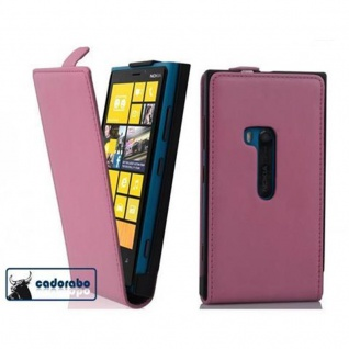 Cadorabo Hülle für Nokia Lumia 920 in ALT ROSA - Handyhülle im Flip Design aus glattem Kunstleder - Case Cover Schutzhülle Etui Tasche Book Klapp Style
