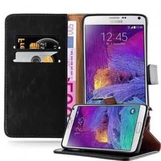 Cadorabo Hülle für Samsung Galaxy NOTE 4 in GRAPHIT SCHWARZ Handyhülle mit Magnetverschluss, Standfunktion und Kartenfach Case Cover Schutzhülle Etui Tasche Book Klapp Style