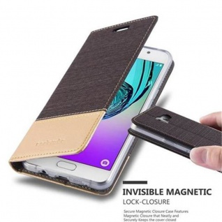Cadorabo Hülle für Samsung Galaxy A3 2016 in ANTRAZIT GOLD - Handyhülle mit Magnetverschluss, Standfunktion und Kartenfach - Case Cover Schutzhülle Etui Tasche Book Klapp Style