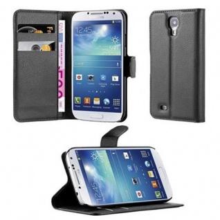 Cadorabo Hülle für Samsung Galaxy S4 in PHANTOM SCHWARZ - Handyhülle mit Magnetverschluss, Standfunktion und Kartenfach - Case Cover Schutzhülle Etui Tasche Book Klapp Style