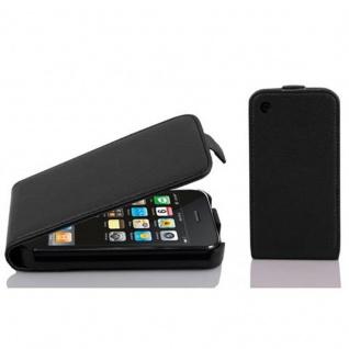 Cadorabo Hülle für Apple iPhone 3 / iPhone 3GS in OXID SCHWARZ - Handyhülle im Flip Design aus strukturiertem Kunstleder - Case Cover Schutzhülle Etui Tasche Book Klapp Style