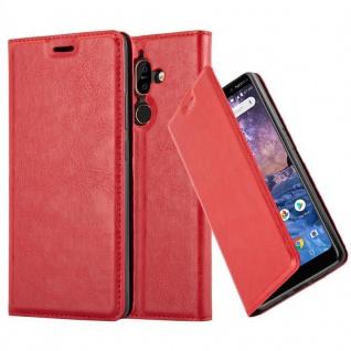Cadorabo Hülle für Nokia 7 PLUS in APFEL ROT Handyhülle mit Magnetverschluss, Standfunktion und Kartenfach Case Cover Schutzhülle Etui Tasche Book Klapp Style