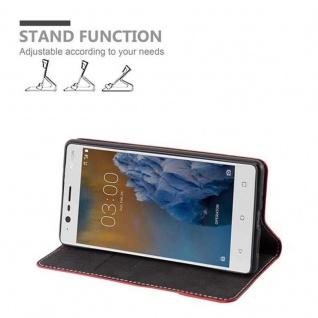 Cadorabo Hülle für Nokia 3 2017 in ROT SCHWARZ ? Handyhülle mit Magnetverschluss, Standfunktion und Kartenfach ? Case Cover Schutzhülle Etui Tasche Book Klapp Style - Vorschau 3