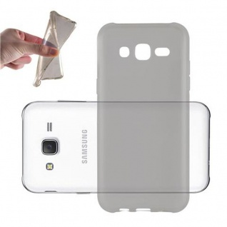 Cadorabo Hülle für Samsung Galaxy J5 2015 in TRANSPARENT SCHWARZ - Handyhülle aus flexiblem TPU Silikon - Silikonhülle Schutzhülle Ultra Slim Soft Back Cover Case Bumper