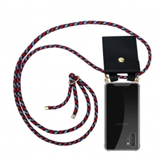 Cadorabo Handy Kette für Samsung Galaxy NOTE 10 PLUS in ROT BLAU WEISS Silikon Necklace Umhänge Hülle mit Gold Ringen, Kordel Band Schnur und abnehmbarem Etui Schutzhülle