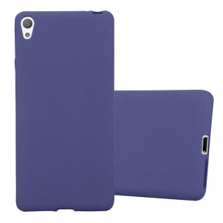 Cadorabo Hülle für Sony Xperia E5 in FROST DUNKEL BLAU - Handyhülle aus flexiblem TPU Silikon - Silikonhülle Schutzhülle Ultra Slim Soft Back Cover Case Bumper