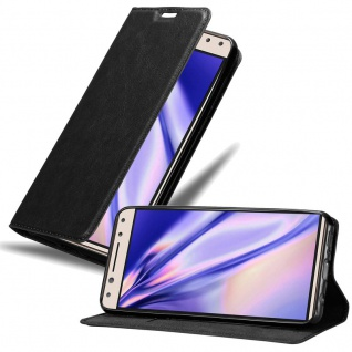 Cadorabo Hülle für Alcatel 5 in NACHT SCHWARZ - Handyhülle mit Magnetverschluss, Standfunktion und Kartenfach - Case Cover Schutzhülle Etui Tasche Book Klapp Style