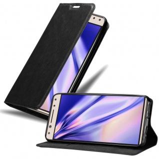 Cadorabo Hülle für Alcatel 5 in NACHT SCHWARZ Handyhülle mit Magnetverschluss, Standfunktion und Kartenfach Case Cover Schutzhülle Etui Tasche Book Klapp Style
