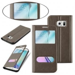 Cadorabo Hülle für Samsung Galaxy S6 EDGE PLUS in STEIN BRAUN - Handyhülle mit Magnetverschluss, Standfunktion und 2 Sichtfenstern - Case Cover Schutzhülle Etui Tasche Book Klapp Style - Vorschau 3