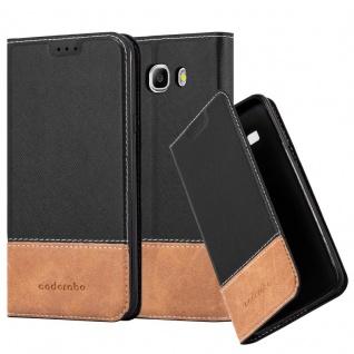 Cadorabo Hülle für Samsung Galaxy J7 2016 in SCHWARZ BRAUN ? Handyhülle mit Magnetverschluss, Standfunktion und Kartenfach ? Case Cover Schutzhülle Etui Tasche Book Klapp Style