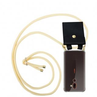 Cadorabo Handy Kette für Nokia 7 PLUS in CREME BEIGE Silikon Necklace Umhänge Hülle mit Gold Ringen, Kordel Band Schnur und abnehmbarem Etui Schutzhülle