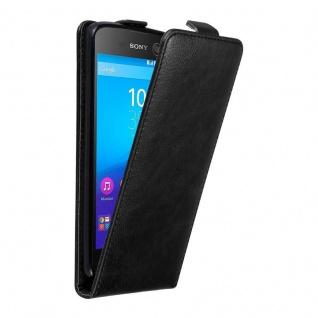 Cadorabo Hülle für Sony Xperia M5 in NACHT SCHWARZ - Handyhülle im Flip Design mit unsichtbarem Magnetverschluss - Case Cover Schutzhülle Etui Tasche Book Klapp Style