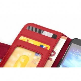 Cadorabo Hülle für Samsung Galaxy ALPHA in INFERNO ROT ? Handyhülle mit Magnetverschluss und 3 Kartenfächern ? Case Cover Schutzhülle Etui Tasche Book Klapp Style - Vorschau 4