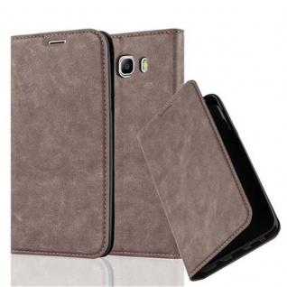 Cadorabo Hülle für Samsung Galaxy J7 2016 in KAFFEE BRAUN - Handyhülle mit Magnetverschluss, Standfunktion und Kartenfach - Case Cover Schutzhülle Etui Tasche Book Klapp Style