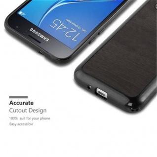 Cadorabo Hülle für Samsung Galaxy J1 2016 in WOODEN SCHWARZ ? Handyhülle aus flexiblem TPU Silikon ? Silikonhülle Schutzhülle Ultra Slim Soft Back Cover Case Bumper - Vorschau 2