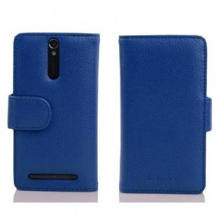 Cadorabo Hülle für Sony Xperia S in KÖNIGS BLAU - Handyhülle aus strukturiertem Kunstleder mit Standfunktion und Kartenfach - Case Cover Schutzhülle Etui Tasche Book Klapp Style - Vorschau 2