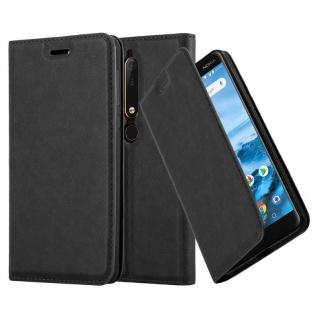 Cadorabo Hülle für Nokia 6.1 2018 in NACHT SCHWARZ Handyhülle mit Magnetverschluss, Standfunktion und Kartenfach Case Cover Schutzhülle Etui Tasche Book Klapp Style