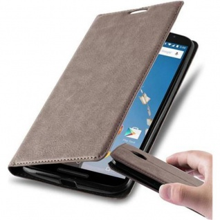 Cadorabo Hülle für Lenovo Google NEXUS 6 / 6X in KAFFEE BRAUN - Handyhülle mit Magnetverschluss, Standfunktion und Kartenfach - Case Cover Schutzhülle Etui Tasche Book Klapp Style