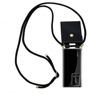 Cadorabo Handy Kette für Huawei P40 Pro+ in SCHWARZ Silikon Necklace Umhänge Hülle mit Gold Ringen, Kordel Band Schnur und abnehmbarem Etui Schutzhülle