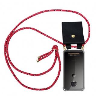 Cadorabo Handy Kette für Motorola MOTO Z2 in PINK SCHWARZ WEISS GEPUNKTET - Silikon Necklace Umhänge Hülle mit Gold Ringen, Kordel Band Schnur und abnehmbarem Etui ? Schutzhülle