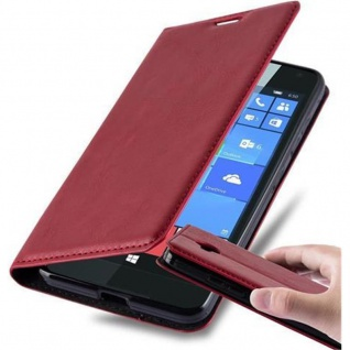 Cadorabo Hülle für Nokia Lumia 650 in APFEL ROT Handyhülle mit Magnetverschluss, Standfunktion und Kartenfach Case Cover Schutzhülle Etui Tasche Book Klapp Style
