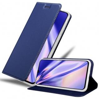 Cadorabo Hülle für Samsung Galaxy A90 5G in CLASSY DUNKEL BLAU - Handyhülle mit Magnetverschluss, Standfunktion und Kartenfach - Case Cover Schutzhülle Etui Tasche Book Klapp Style