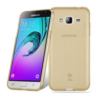 Cadorabo Hülle für Samsung Galaxy J3 2016 in TRANSPARENT GOLD - Handyhülle aus flexiblem TPU Silikon - Silikonhülle Schutzhülle Ultra Slim Soft Back Cover Case Bumper - Vorschau 5