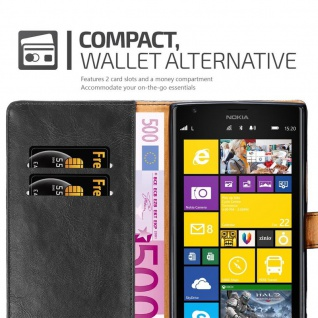 Cadorabo Hülle für Nokia Lumia 1520 in GRAPHIT SCHWARZ ? Handyhülle mit Magnetverschluss, Standfunktion und Kartenfach ? Case Cover Schutzhülle Etui Tasche Book Klapp Style - Vorschau 5