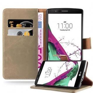 Cadorabo Hülle für LG G4 / G4 PLUS in CAPPUCCINO BRAUN ? Handyhülle mit Magnetverschluss, Standfunktion und Kartenfach ? Case Cover Schutzhülle Etui Tasche Book Klapp Style