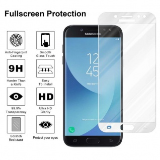 Cadorabo Vollbild Panzer Folie für Samsung Galaxy J5 PRO - Schutzfolie in TRANSPARENT mit WEISS - Gehärtetes (Tempered) Display-Schutzglas in 9H Härte mit 3D Touch Kompatibilität - Vorschau 4