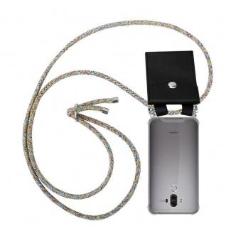 Cadorabo Handy Kette für Huawei MATE 9 in RAINBOW Silikon Necklace Umhänge Hülle mit Silber Ringen, Kordel Band Schnur und abnehmbarem Etui Schutzhülle
