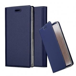 Cadorabo Hülle für Sony Xperia XZ1 COMPACT in CLASSY DUNKEL BLAU - Handyhülle mit Magnetverschluss, Standfunktion und Kartenfach - Case Cover Schutzhülle Etui Tasche Book Klapp Style