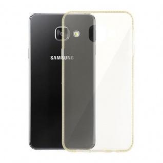 Cadorabo Hülle für Samsung Galaxy A3 2016 (6) - Hülle in TRANSPARENT GOLD - Handyhülle aus TPU Silikon im Strass Design - Silikonhülle Schutzhülle Ultra Slim Soft Back Cover Case Bumper - Vorschau 3