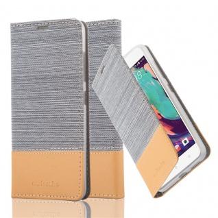 Cadorabo Hülle für HTC Desire 10 PRO in HELL GRAU BRAUN - Handyhülle mit Magnetverschluss, Standfunktion und Kartenfach - Case Cover Schutzhülle Etui Tasche Book Klapp Style