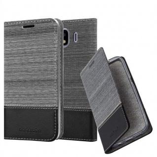 Cadorabo Hülle für Samsung Galaxy J4 2018 in GRAU SCHWARZ - Handyhülle mit Magnetverschluss, Standfunktion und Kartenfach - Case Cover Schutzhülle Etui Tasche Book Klapp Style