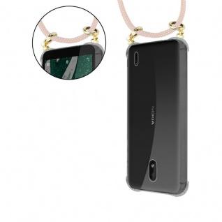 Cadorabo Handy Kette für Nokia 1 PLUS in PERLIG ROSÉGOLD - Silikon Necklace Umhänge Hülle mit Gold Ringen, Kordel Band Schnur und abnehmbarem Etui ? Schutzhülle - Vorschau 5