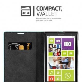 Cadorabo Hülle für Nokia Lumia 1020 in PETROL TÜRKIS - Handyhülle mit Magnetverschluss, Standfunktion und Kartenfach - Case Cover Schutzhülle Etui Tasche Book Klapp Style - Vorschau 5