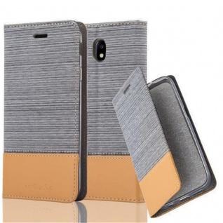 Cadorabo Hülle für Samsung Galaxy J3 2017 in HELL GRAU BRAUN - Handyhülle mit Magnetverschluss, Standfunktion und Kartenfach - Case Cover Schutzhülle Etui Tasche Book Klapp Style