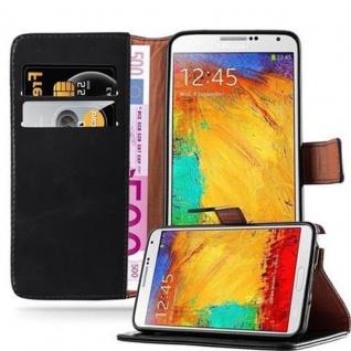 Cadorabo Hülle für Samsung Galaxy NOTE 3 in GRAPHIT SCHWARZ ? Handyhülle mit Magnetverschluss, Standfunktion und Kartenfach ? Case Cover Schutzhülle Etui Tasche Book Klapp Style