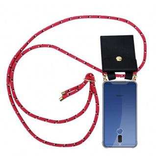 Cadorabo Handy Kette für Huawei MATE 10 LITE in PINK SCHWARZ WEISS GEPUNKTET - Silikon Necklace Umhänge Hülle mit Gold Ringen, Kordel Band Schnur und abnehmbarem Etui ? Schutzhülle