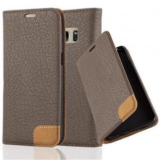 Cadorabo Hülle für Samsung Galaxy S7 - Hülle in ERD BRAUN - Handyhülle mit Standfunktion, Kartenfach und Textil-Patch - Case Cover Schutzhülle Etui Tasche Book Klapp Style