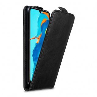 Cadorabo Hülle für Huawei P30 LITE in NACHT SCHWARZ Handyhülle im Flip Design mit Magnetverschluss Case Cover Schutzhülle Etui Tasche Book Klapp Style