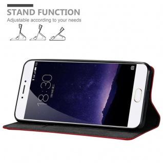 Cadorabo Hülle für MEIZU MX6 in APFEL ROT Handyhülle mit Magnetverschluss, Standfunktion und Kartenfach Case Cover Schutzhülle Etui Tasche Book Klapp Style - Vorschau 3