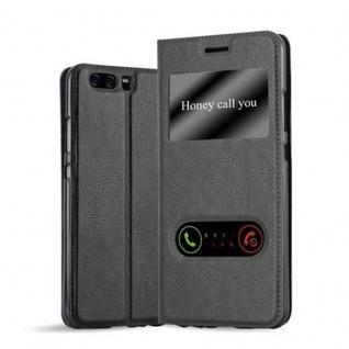 Cadorabo Hülle für Huawei P10 in KOMETEN SCHWARZ - Handyhülle mit Magnetverschluss, Standfunktion und 2 Sichtfenstern - Case Cover Schutzhülle Etui Tasche Book Klapp Style