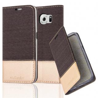 Cadorabo Hülle für Samsung Galaxy S6 in ANTRAZIT GOLD - Handyhülle mit Magnetverschluss, Standfunktion und Kartenfach - Case Cover Schutzhülle Etui Tasche Book Klapp Style