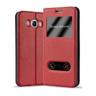 Cadorabo Hülle für Samsung Galaxy J7 2016 in SAFRAN ROT ? Handyhülle mit Magnetverschluss, Standfunktion und 2 Sichtfenstern ? Case Cover Schutzhülle Etui Tasche Book Klapp Style